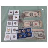 1 LOT W/MIX COINS, SILVER TONE DIMES, CURRENCY