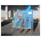 LOT OF BLUE PLASTIC SCHOOL CHAIRS