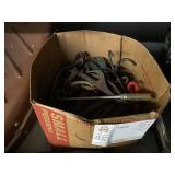 BOX OF LEATHER STRAPS & ROPES