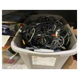 BOX OF ASSORTED COMPUTER WIRES & CHARGER CABLES: