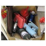 BOX OF VARIOUS TOOLS: FOOT PUMP, AIR TOOL,GRINDER