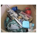 BOX OF VARIOUS HAND TOOLS & MISCELLANEOUS ITEMS