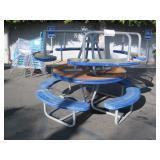 2 PLASTIC CIRCULAR LUNCH TABLES