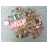 1 BAG WITH MISC. COINS & BILLS