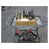ROLLING CART WITH ASSORTED CHUCKS & DRILL BITS