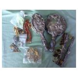 2 BAGS WITH COMB BRUSH MIRROR SET & MISC. JEWELRY