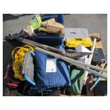 PALLET OF VARIOUS ITEMS HAND TOOLS,GUN BAGS