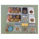 1 LOT W/COLLECTABLE COINS, SILVER TONE COINS