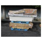 PALLET OF TUB INSERTS, SHOWER DOORS & BOOK CASES