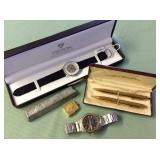 1 BAG W/MISC GOLD TONE PENCIL,WATCHES