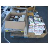 PALLET OF METAL FITTINGS & ELECTRICAL COMPONENTS