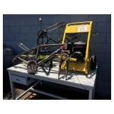 1 LOT OF BIKE FRAMES LAWN EDGER AND WORK BENCH