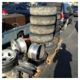 1 LOT OF RIMS AND TIRES