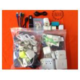 2 BAGS WITH MISC. CELLPHONES CHARGERS,  USB CABLES