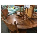 BROWN WOODEN DINING TABLE AND CHAIRS SET