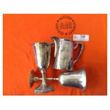 1 BAG WITH GOBLETS & SMALL PITCHER ( SILVER TONE)