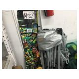 SNOWBOARD FISHING RODS AND CANOPY