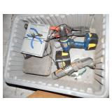 1 TOTE OF PLIERS, BOLT CUTTERS & POWER TOOLS