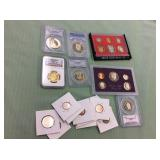 2 BAGS WITH MISC COLLECTABLE COINS