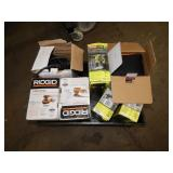 1 BOX OF RIDGID SANDERS & RYOBI POWER TOOLS RIDGID