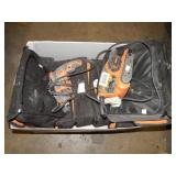 1 BOX OF RIDGID POWER TOOLS W/ CARRYING CASES