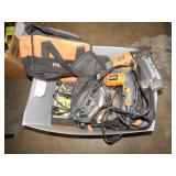 1 TOTE OF RIDGID POWER TOOLS W/ CARRYING CASES