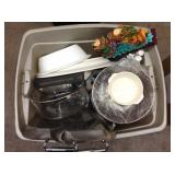 1 TOTE OF DISHES & HOME GOODS