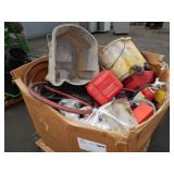 1 BOX OF JANITORIAL SUPPLIES, FUEL JUGS & MORE