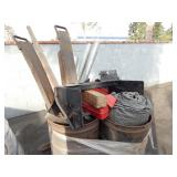 LOT OF TARPS, SAFETY MARKERS, TUBING, TOW HITCH 4
