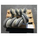 1 LARGE SET (4) OF CASTER WHEELS, 1 SMALL SET (4)