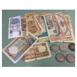 1 BAG WITH CURRENCY,COINS