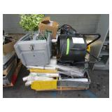PALLET OF FILTERS, SHEETING, A FAN, HOSE, VACUUM A
