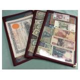 1 BAG WITH CURRENCY, CERTIFICATES