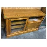 """Tv Stand W Glass Front Cabinet: 52""""18""""32"""""""