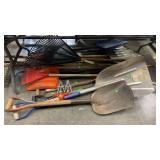 Assorted Shovels, Rakes, Long Handles: Apx 12 Pcs