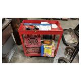 Red Metal Cart W Contents