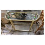 Brass & Glass Sidetable, Brass Hall Tree W Damage