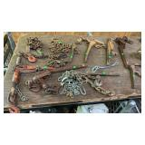 Assorted Large Insert Hitches, Comealongs, Chains