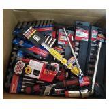 Box Of Assorted Brand Sockets, Ratchet, Rail