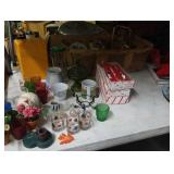 Tote of decor, collectibles,  Christmas, etc.