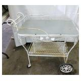 Vintage rolling wrought iron patio cart