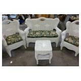 Wicker patio set -floral cushions