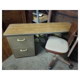 2 drawer metal desk with office chair