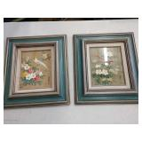 pair of floral w/ birds framed pictures