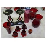 Ruby red glassware group