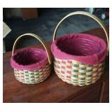 Pair of Longaberger baskets with liner & protector