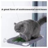 Grey Fuzzy Cat-Window-Perch, Space Saving and