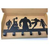Black Metal Avengers Wall Coat Rack with Mounting