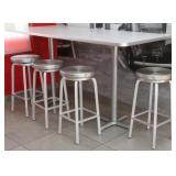"Table, 84""x 36""x 42""H, with 4 Alu. spin top stools"