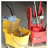 2 mop buckets with mops & window squeegies